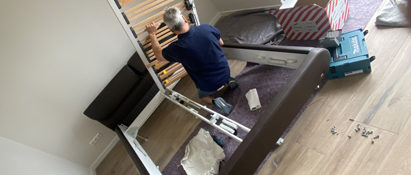 Furniture assembly during removal